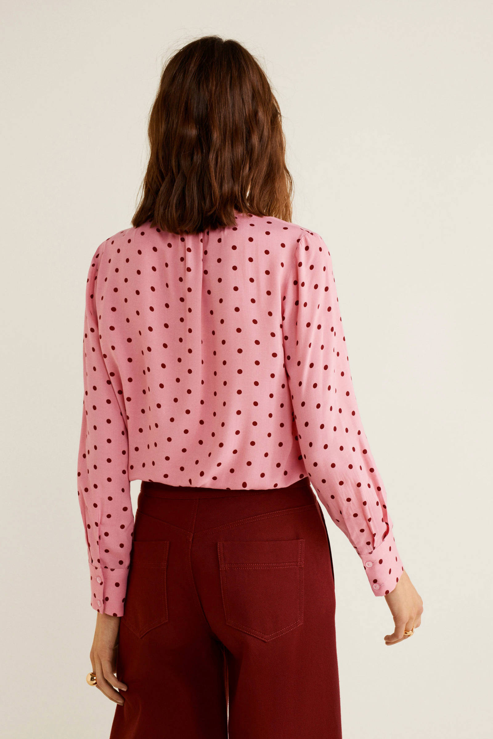 Mango blouse met stippen roze rood | wehkamp