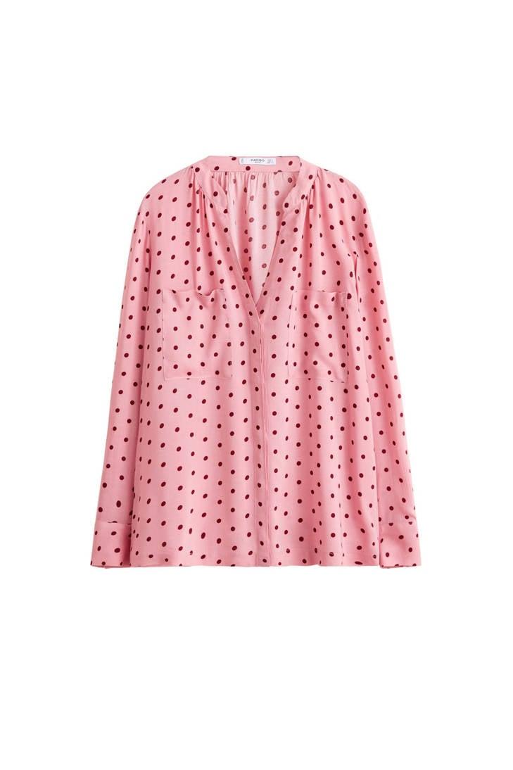 stippen Mango roze blouse met dessin qrn7EwrCS