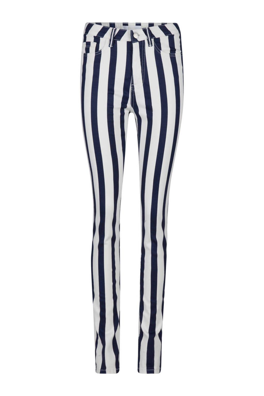WE Fashion gestreepte skinny jeans wit, Wit