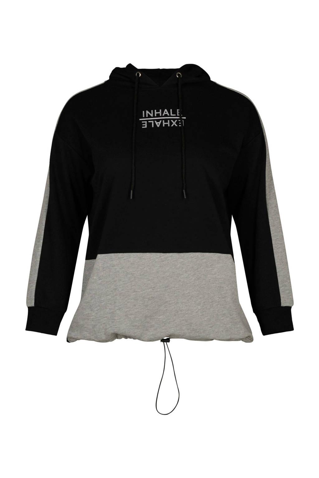 ACTIVE By Zizzi sportsweater met tekst zwart/grijs, Zwart/grijs