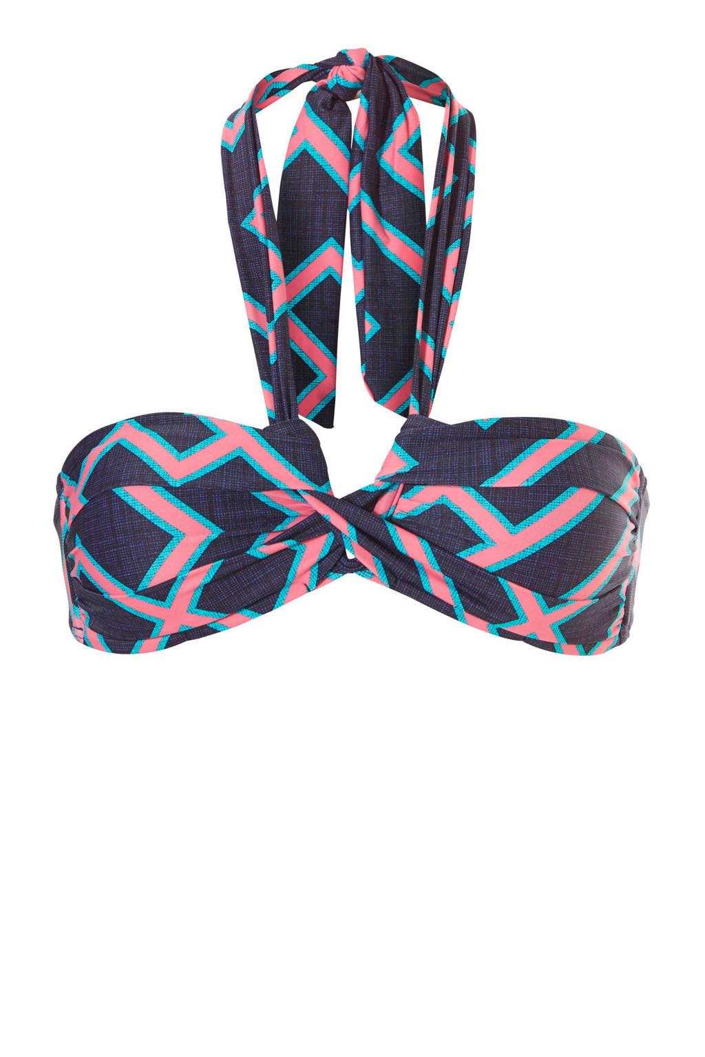 TC WOW bandeau bikinitop met all-over print, Marine/roze