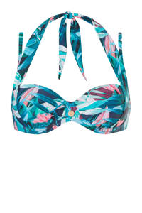 TC WOW strapless beugel bikinitop met all over print blauw, Blauw/roze
