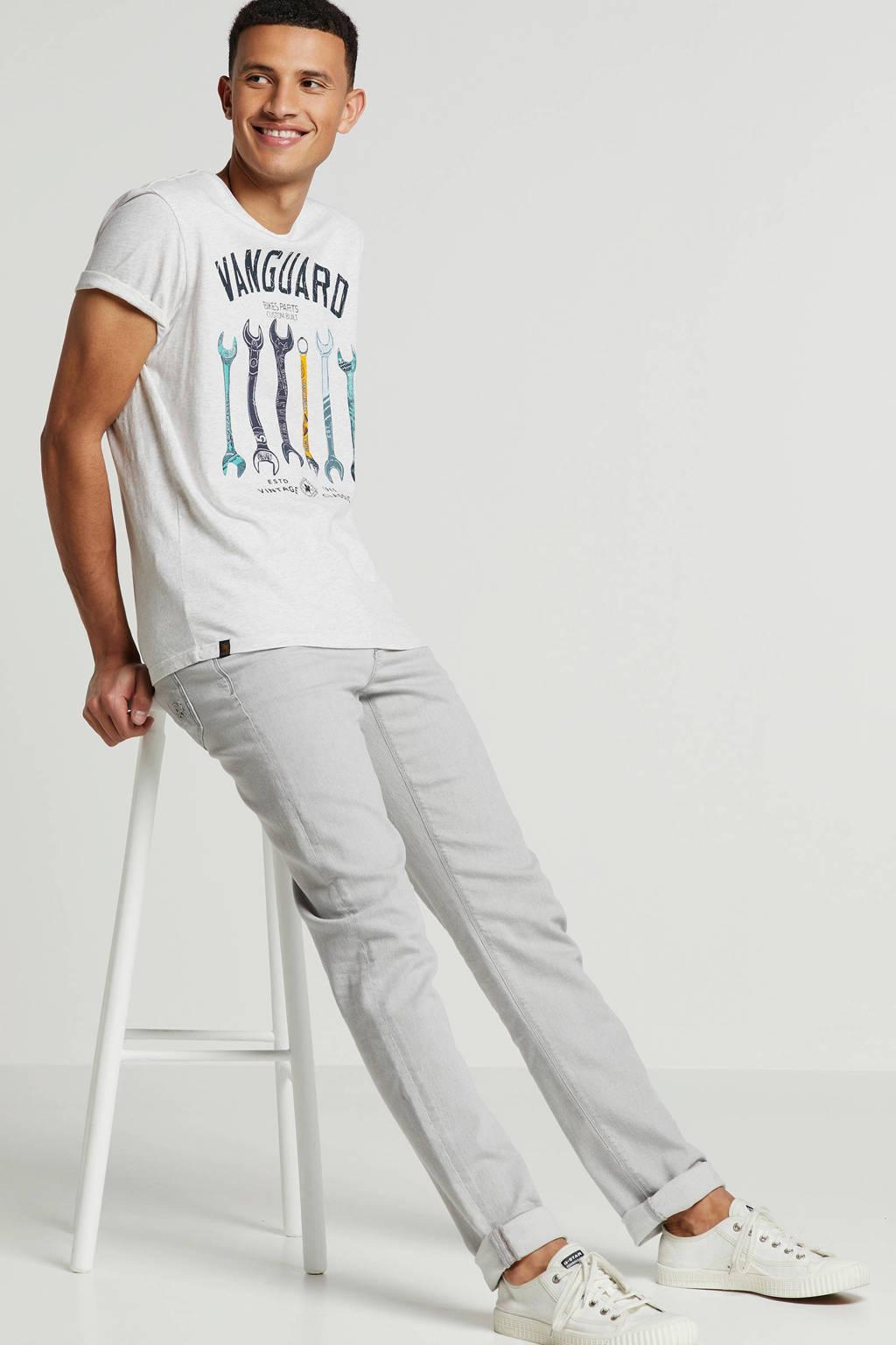 Vanguard T-shirt met printopdruk, Ecru/ Blauw/ Antraciet/Geel