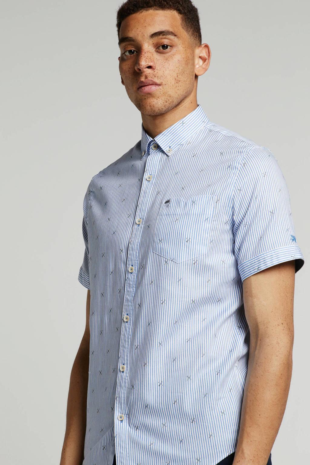 Vanguard overhemd met allover print, Lichtblauw/ wit