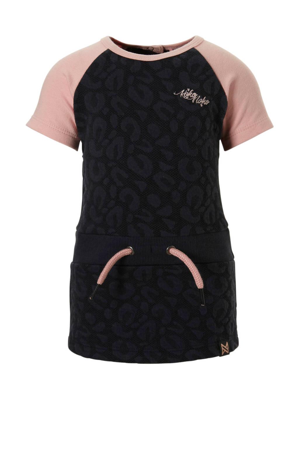 Koko Noko jersey jurk met panterprint donkerblauw/roze, Donkerblauw/roze