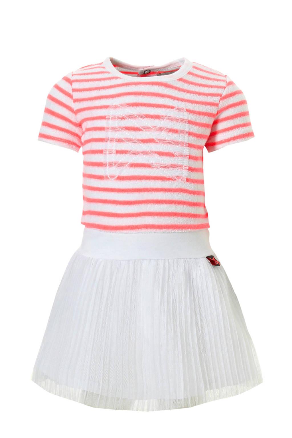 Koko Noko gestreepte jurk met plissé rok, Zalm/wit