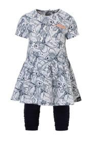Koko Noko jersey jurk + legging met all over print donkerblauw/wit, Donkerblauw/wit