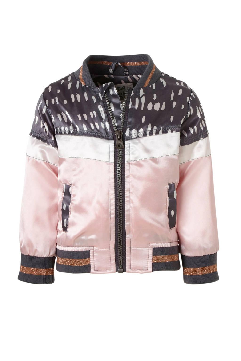Koko Noko bomberjack met glitters, Donkergrijs/roze