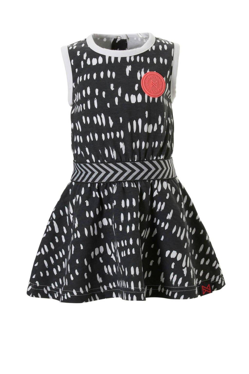 Koko Noko jurk met all over print grijs, Donkergrijs/wit