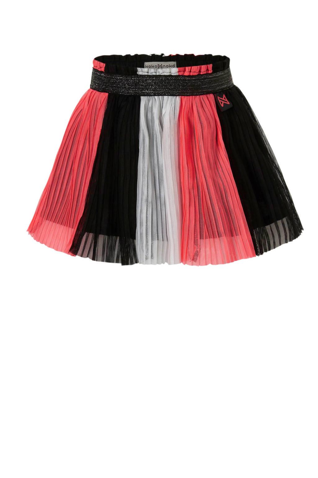 Koko Noko plissé rok roze/zwart, Roze/zwart/wit