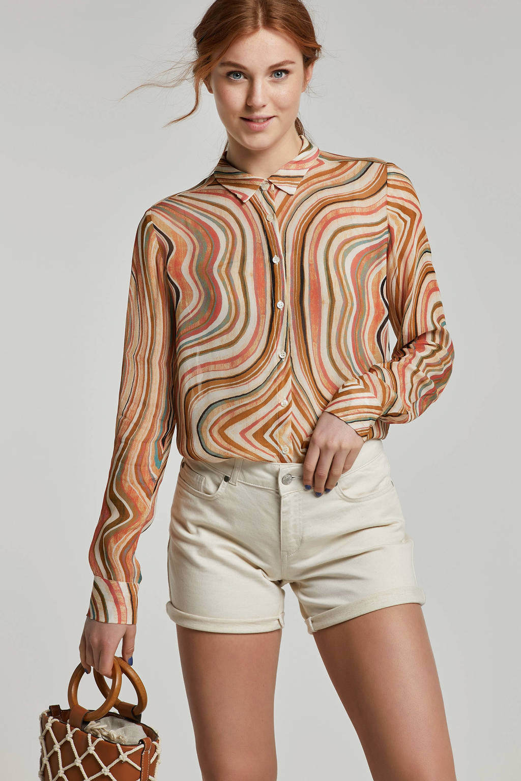 Mos Mosh blouse met all over print beige, Beige