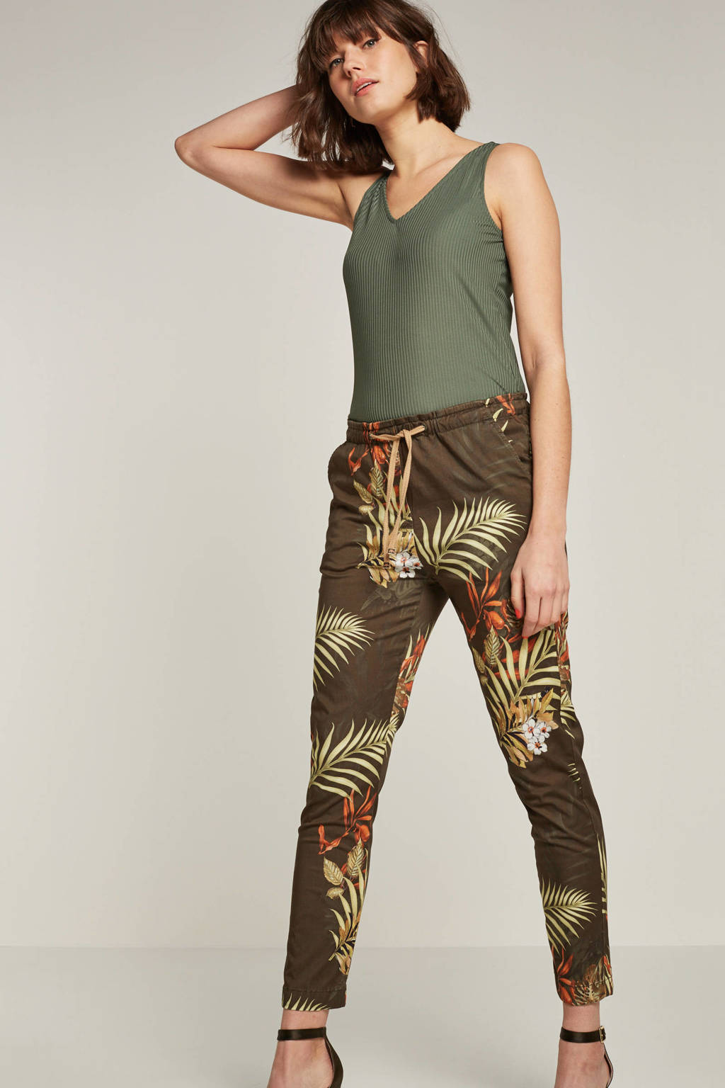 Mos Mosh regular fit broek met all over print groen, Groen