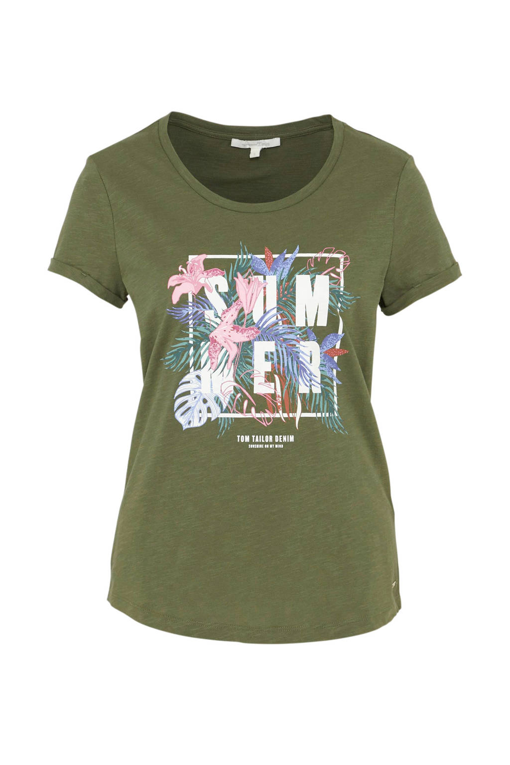 Tom Tailor T-shirt met printopdruk groen multi