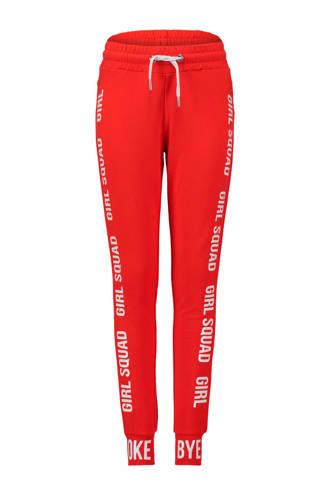 joggingbroek met tekst rood