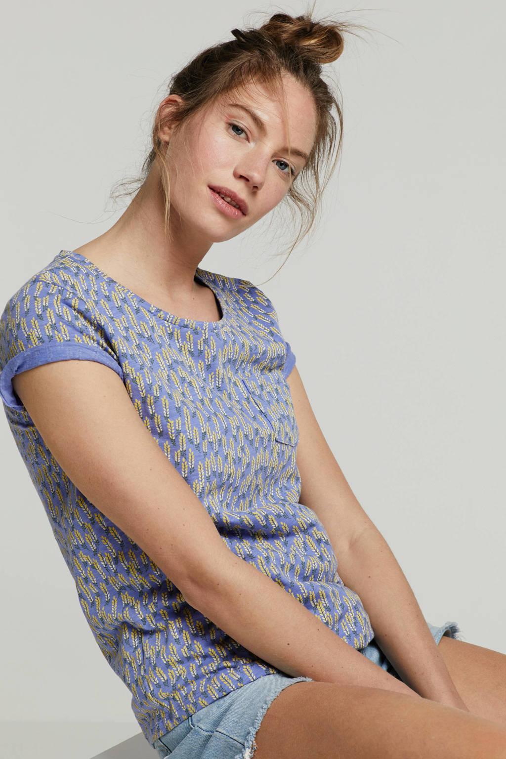 Tom Tailor T-shirt met borstzakje en bladprint, Paars