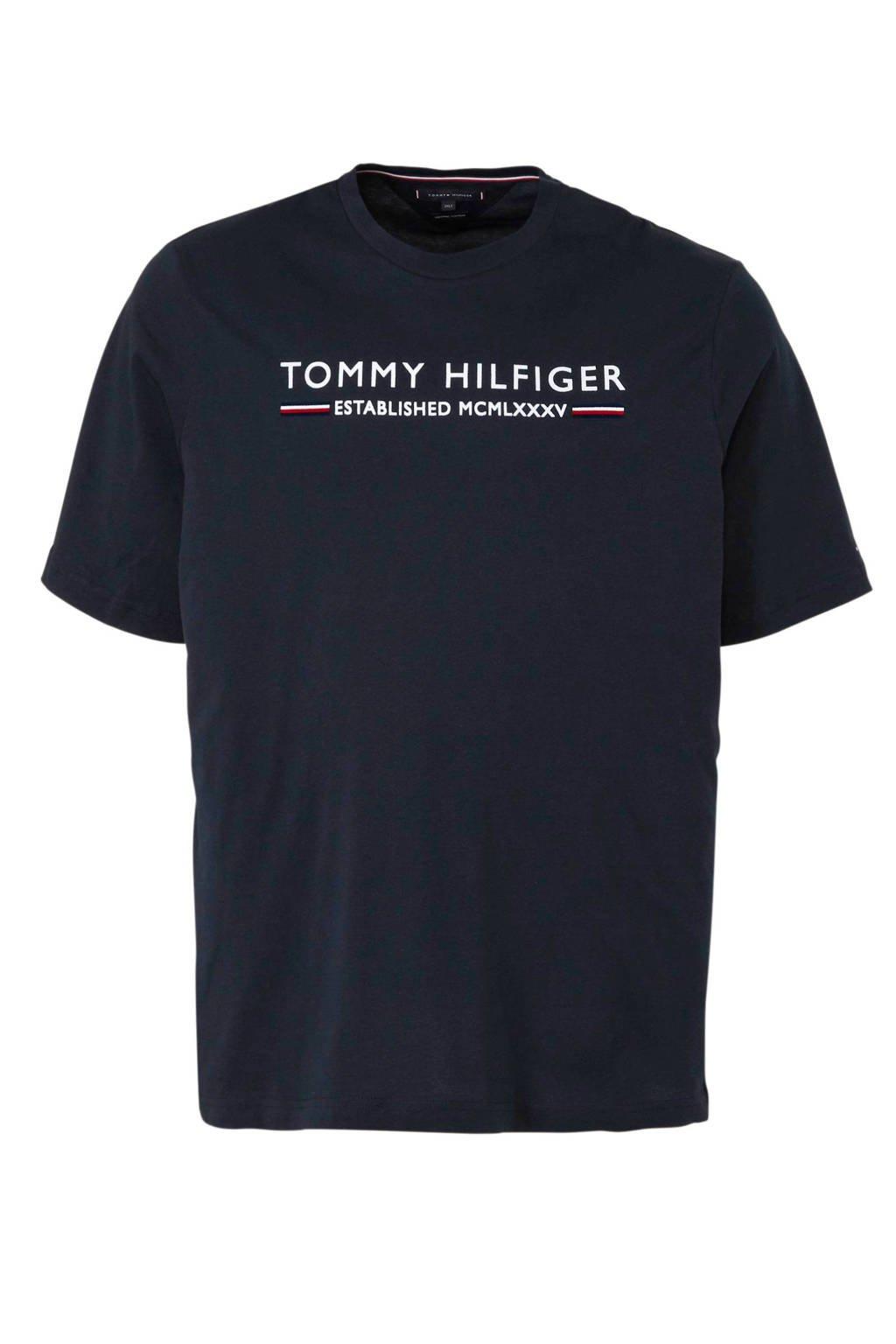 Tommy Hilfiger Big & Tall +size T-shirt met tekst, Donkerblauw