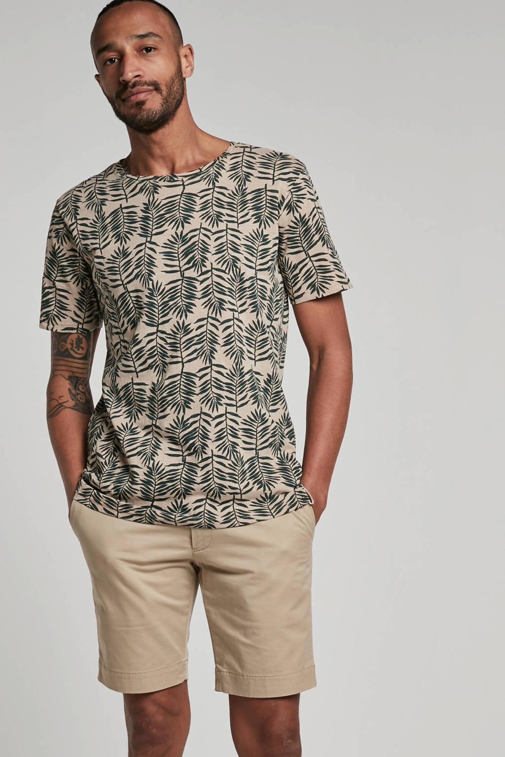 Anerkjendt T-shirt met print, Lichtbruin/groen