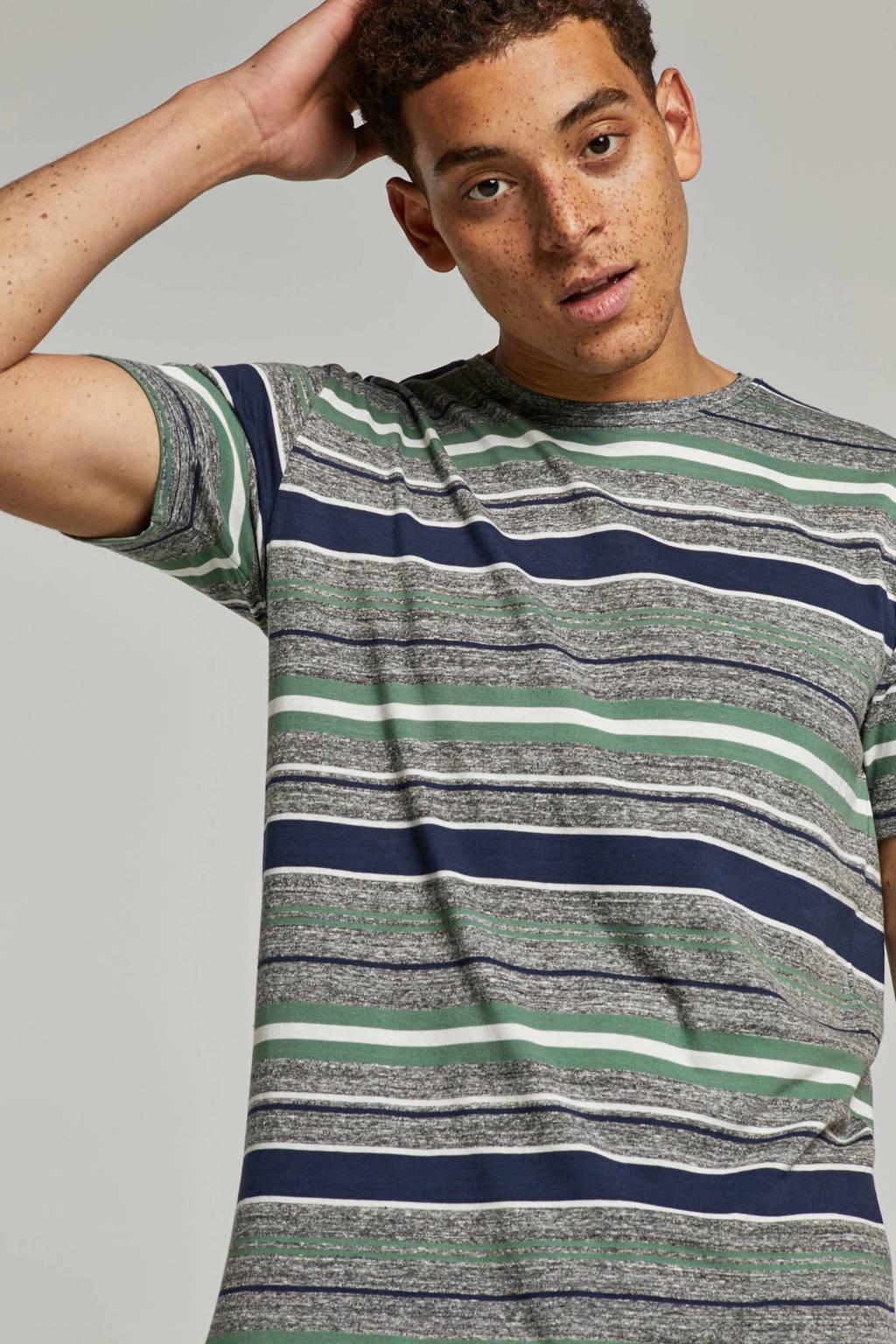 Anerkjendt Tee stripe T-shirt, Grijs/ Marine/ Groen/ Wit