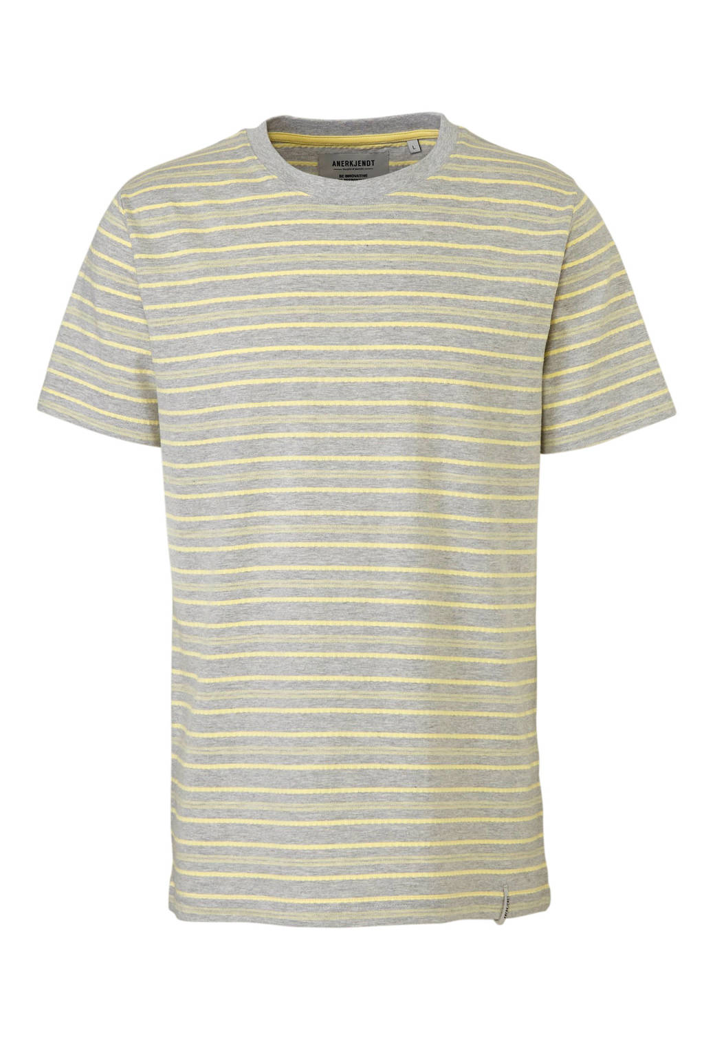 Anerkjendt gestreept T-shirt grijs, Grijs/geel