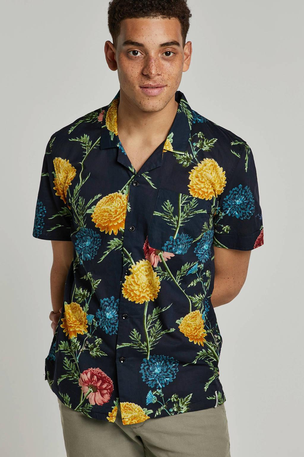 Anerkjendt overhemd met bloemenprint, Zwart