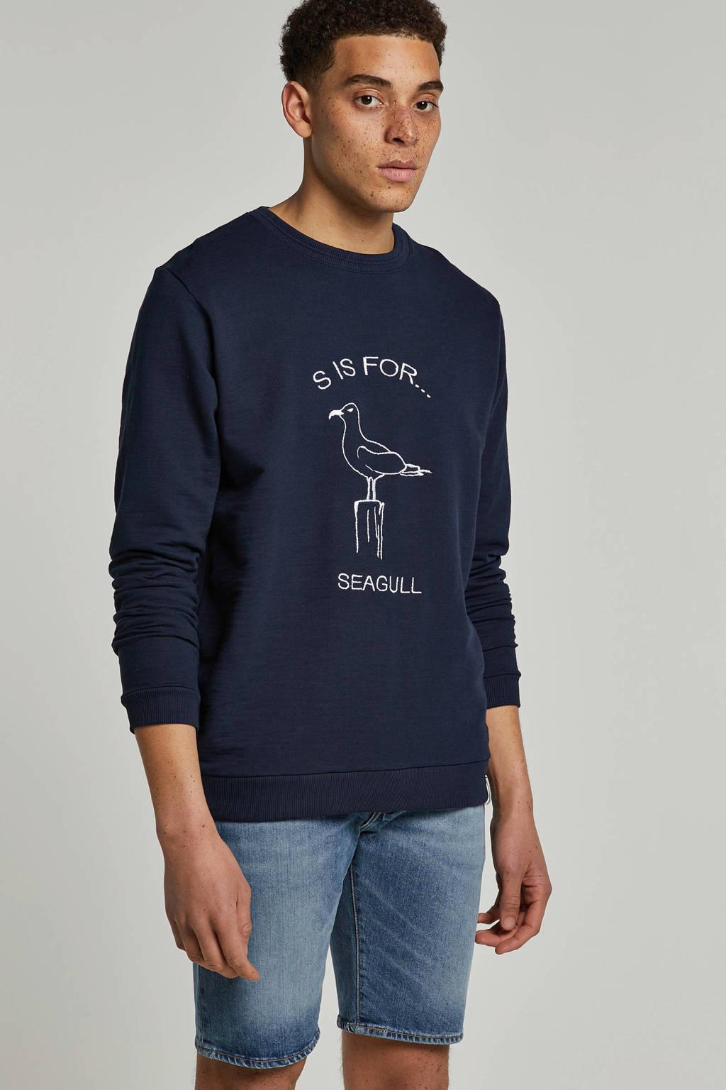 Anerkjendt sweater met borduursel donkerblauw, Donkerblauw