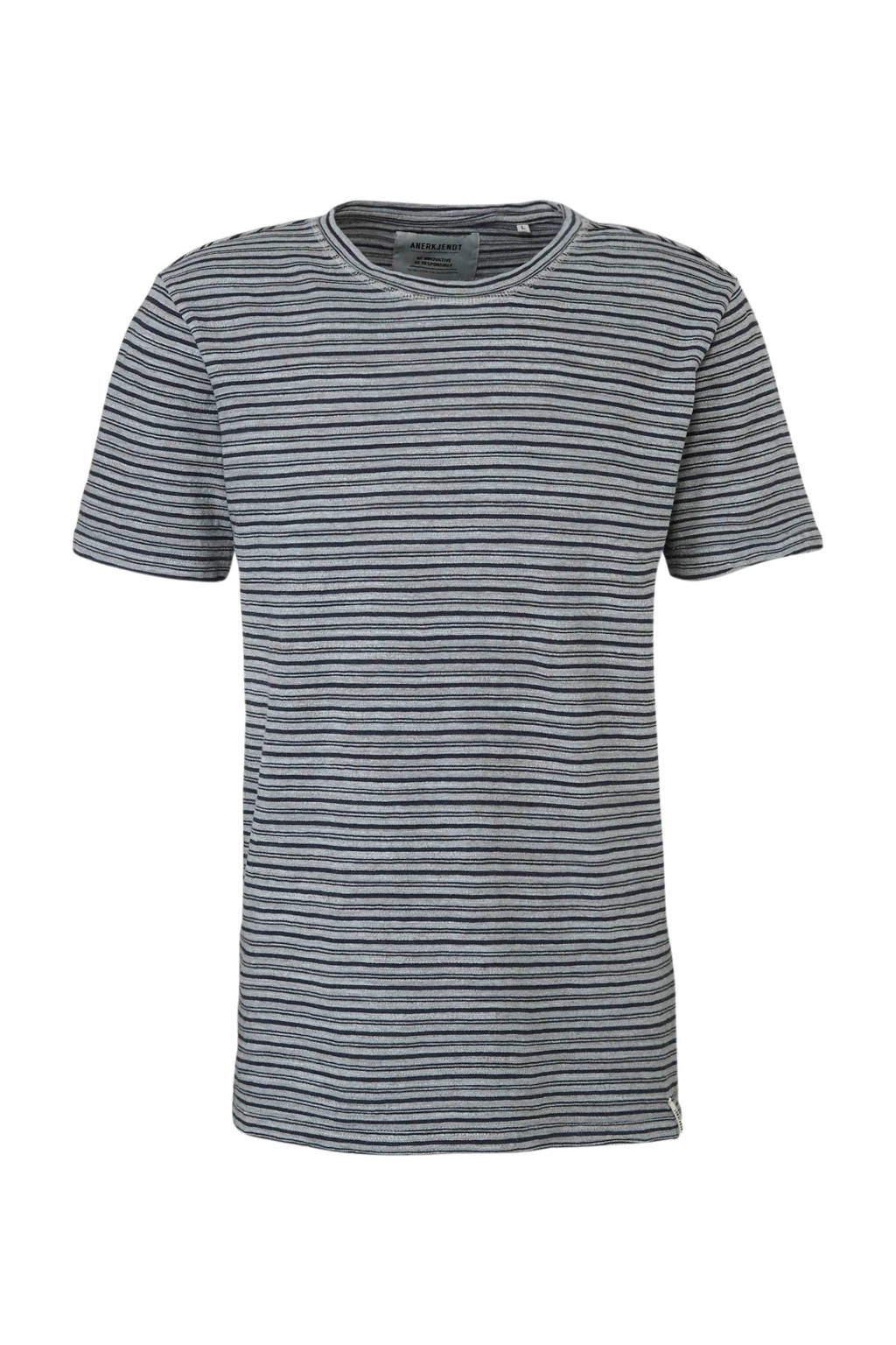 Anerkjendt gestreept T-shirt grijs, Grijs/blauw