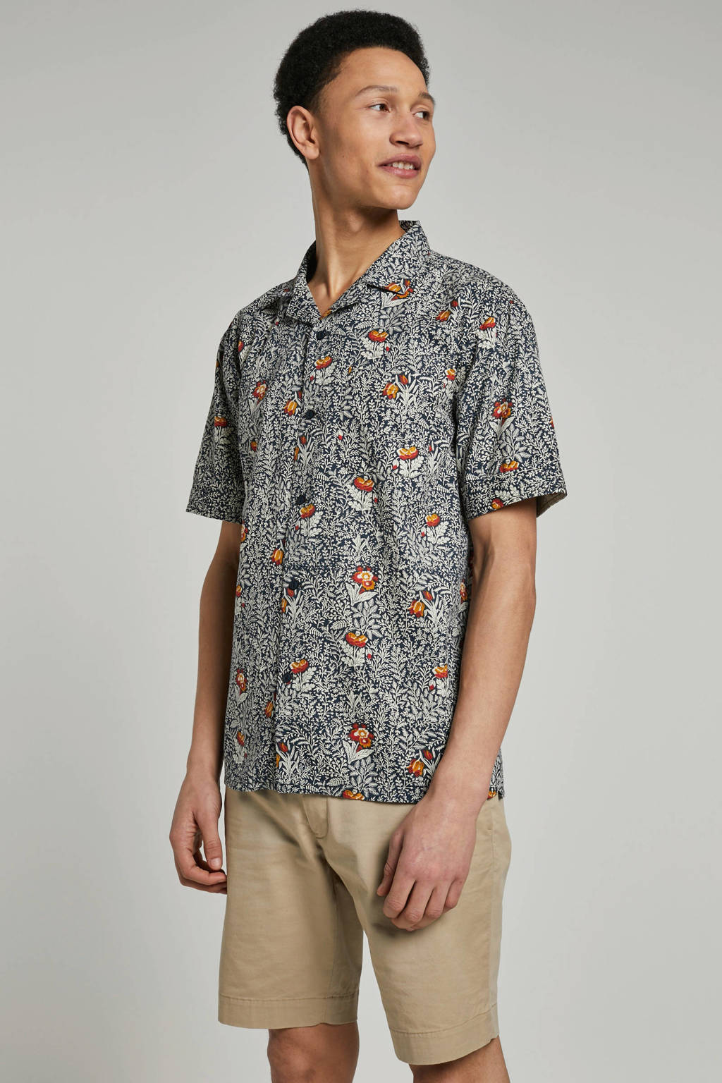 Anerkjendt overhemd met allover print, Marine/ Multi-kleuren