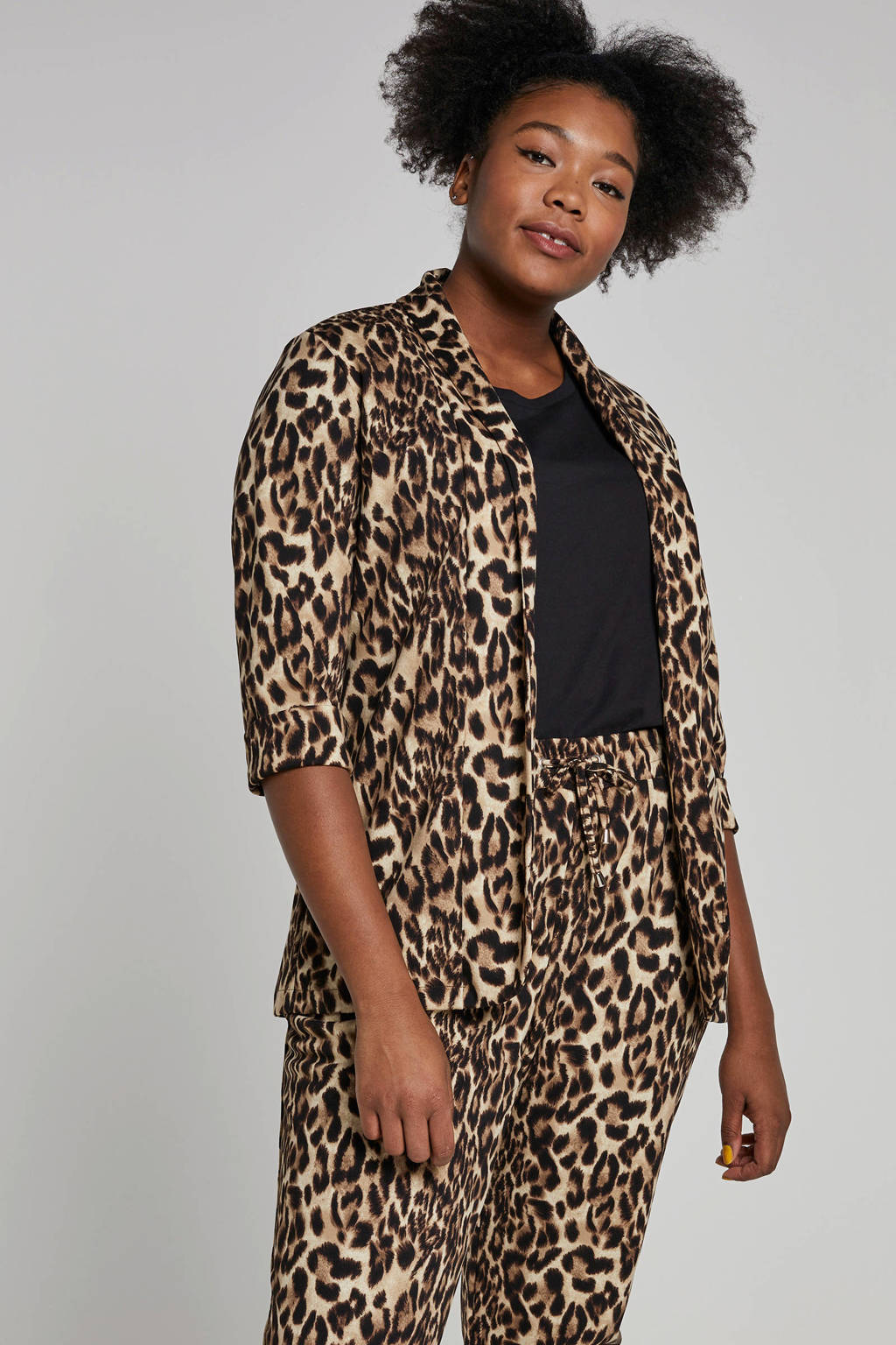 whkmp's great looks blazer met panterprint camel/bruin/zwart, Camel/bruin/zwart