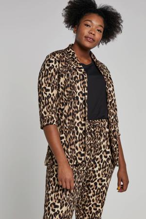 blazer met panterprint camel/bruin/zwart