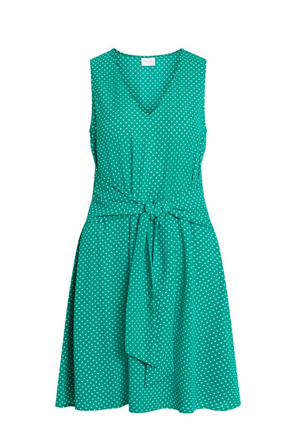 VILA jurk met stippen groen, Groen