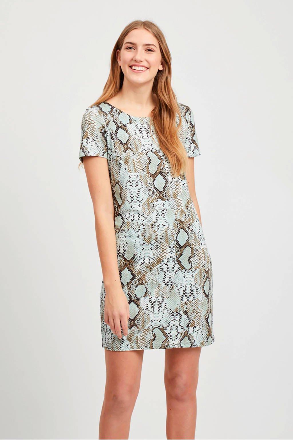 VILA jurk met slangenprint, Bruin/wit