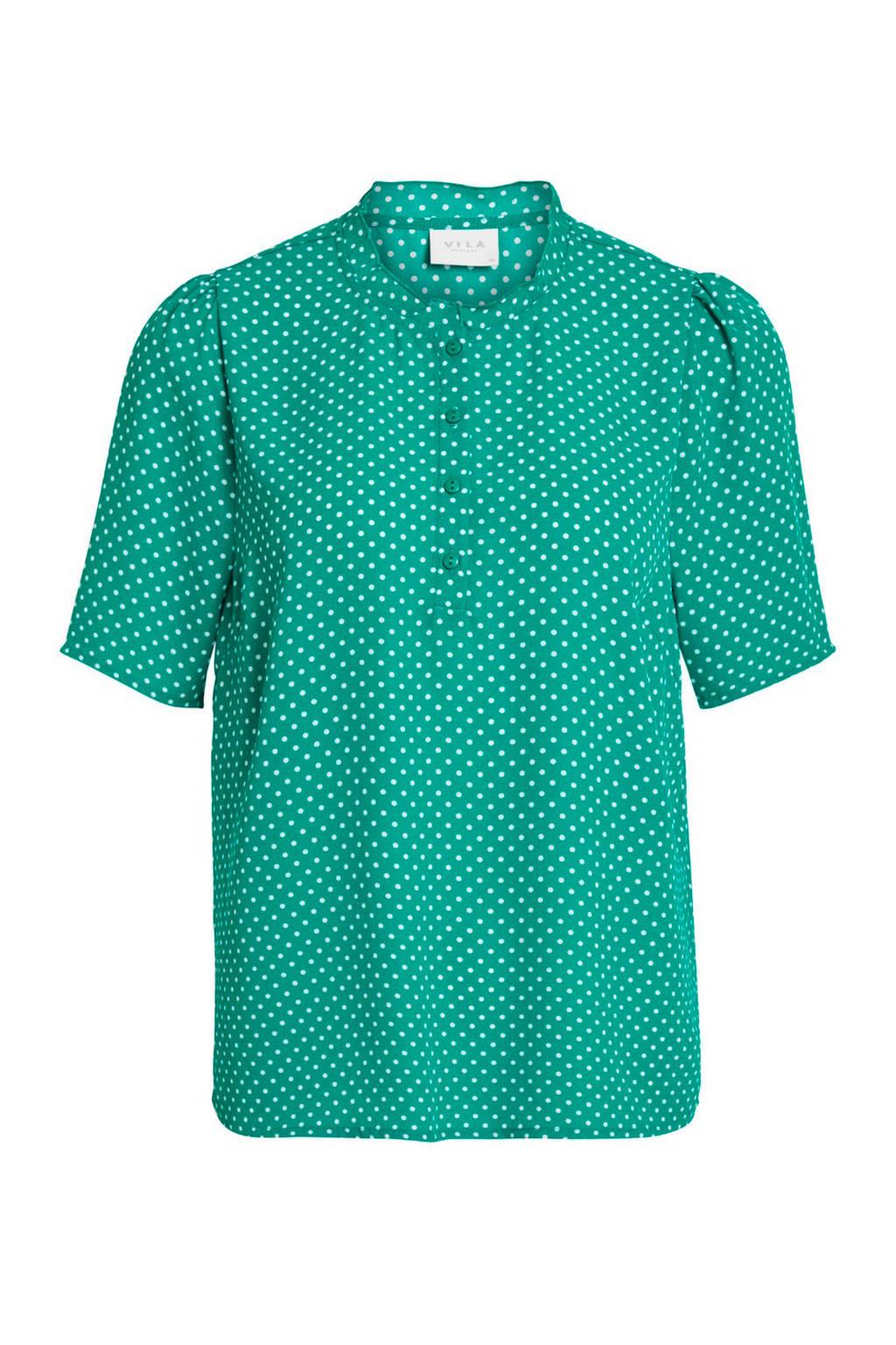 VILA T-shirt met stippen groen, Groen/wit