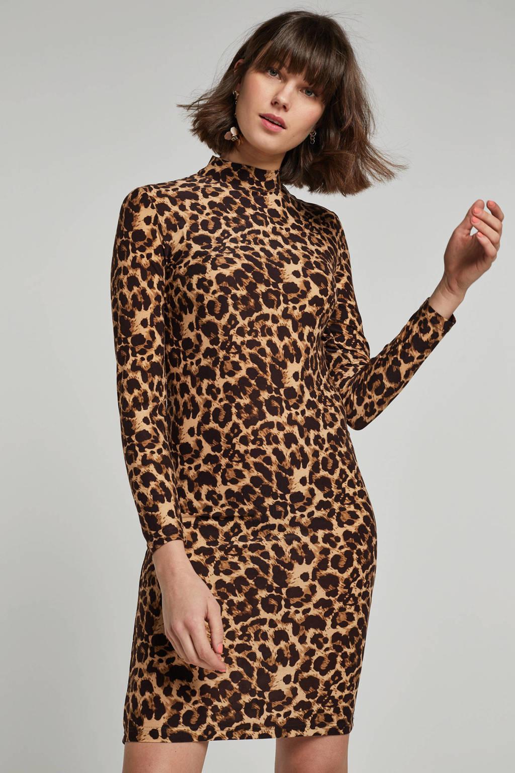 VILA jurk met panterprint, Bruin/zwart
