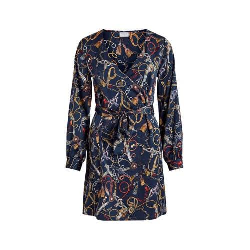 VILA overslag jurk met ketting print
