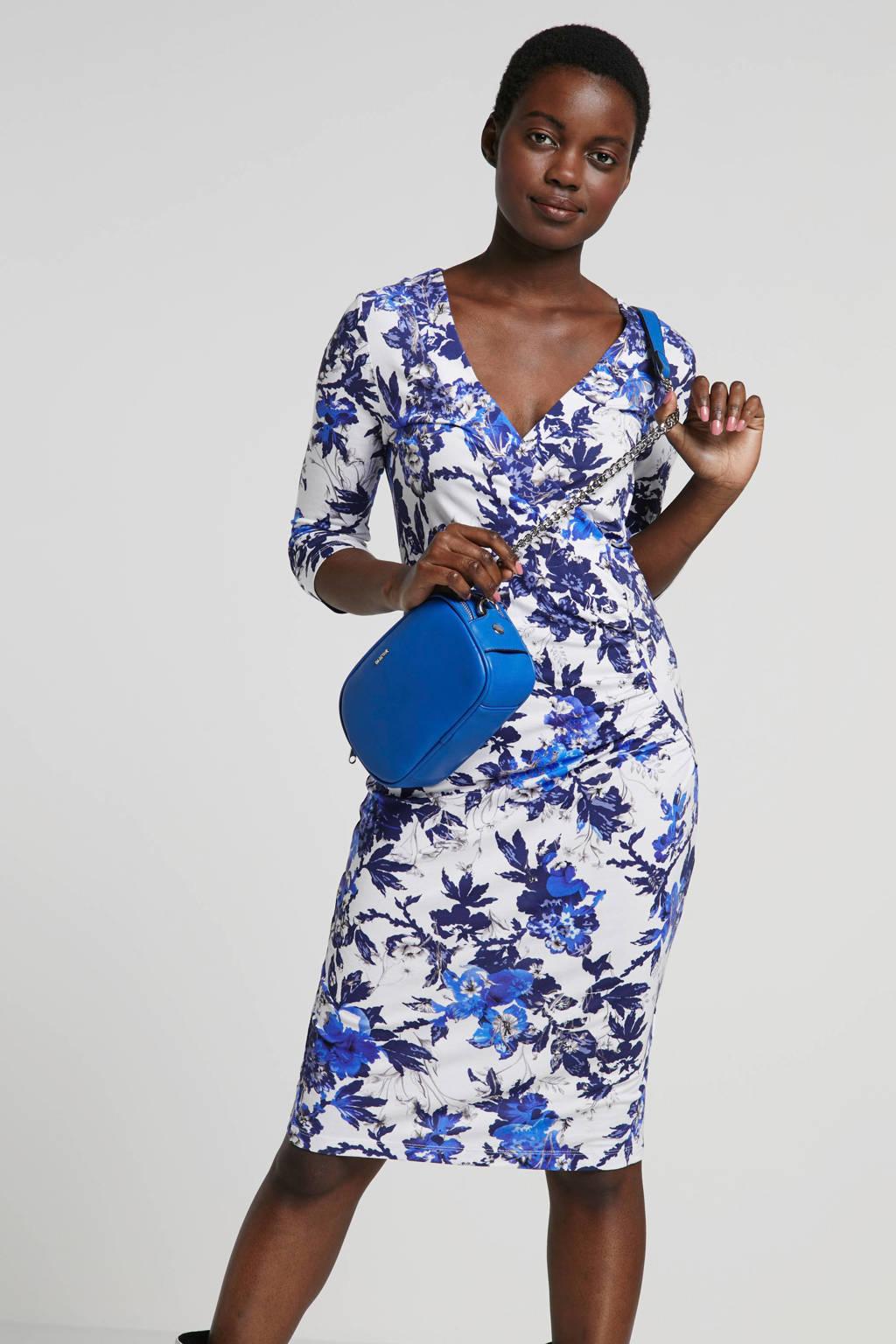 Smashed Lemon gebloemde jurk, Wit/blauw