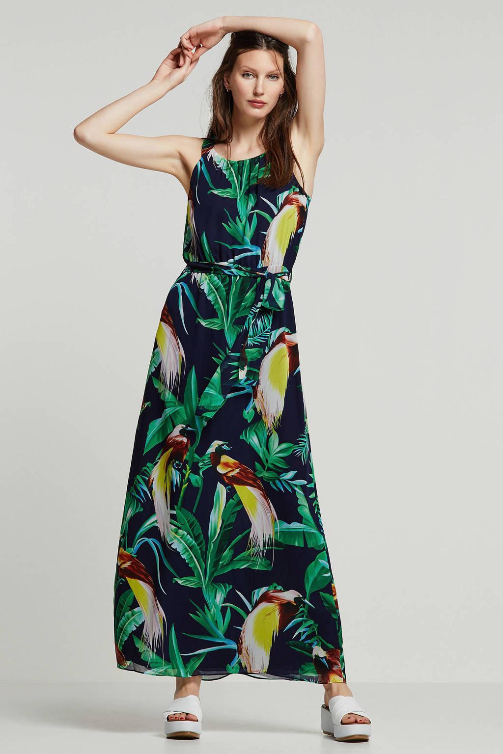 Smashed Lemon jurk met bladprint, Donkerblauw/groen