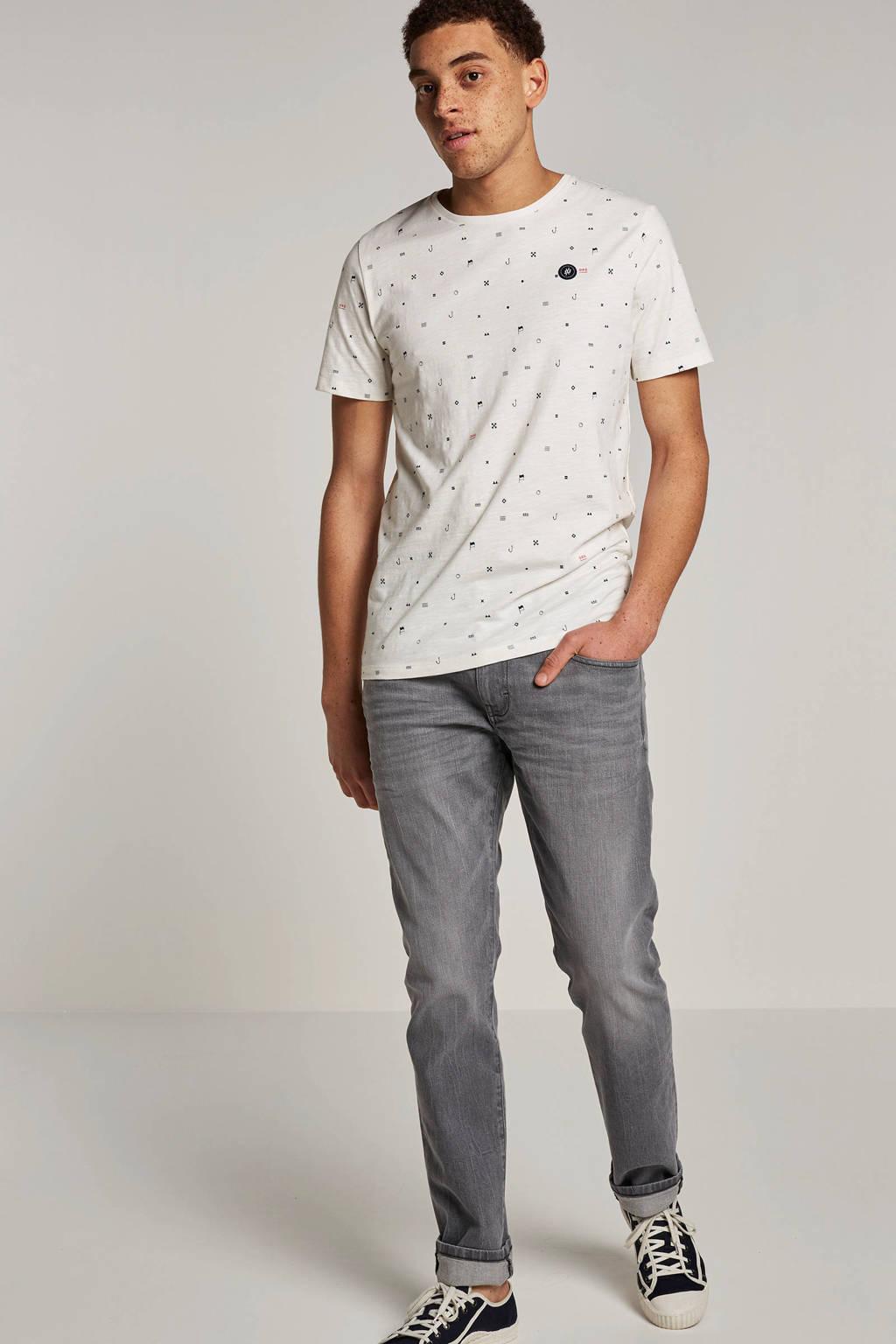 Jack & Jones Originals T-shirt Crusoe met print wit, Wit/zwart