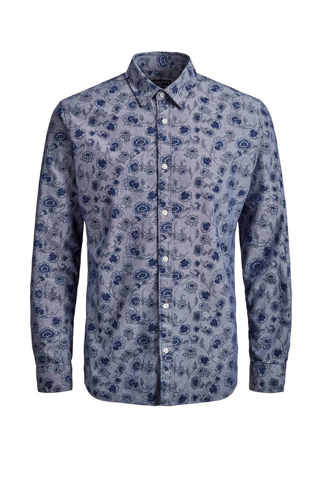 JACK & JONES PREMIUM regular fit overhemd met print, Donkerblauw