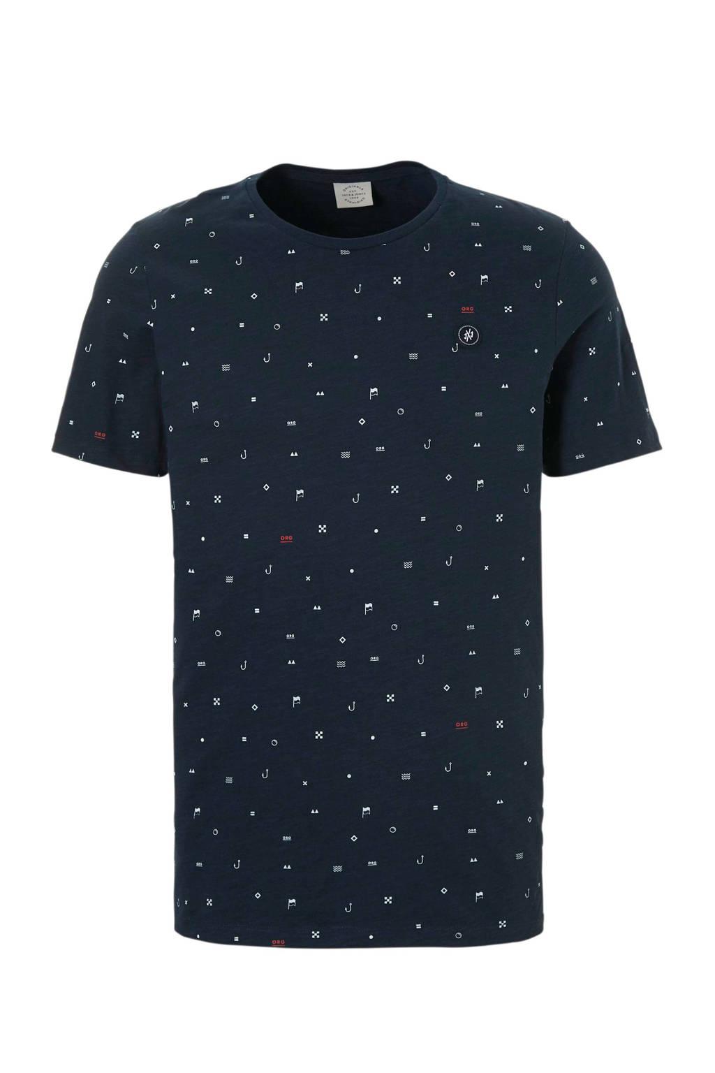 Jack & Jones Originals T-shirt Crusoe met print marine, Marine/wit