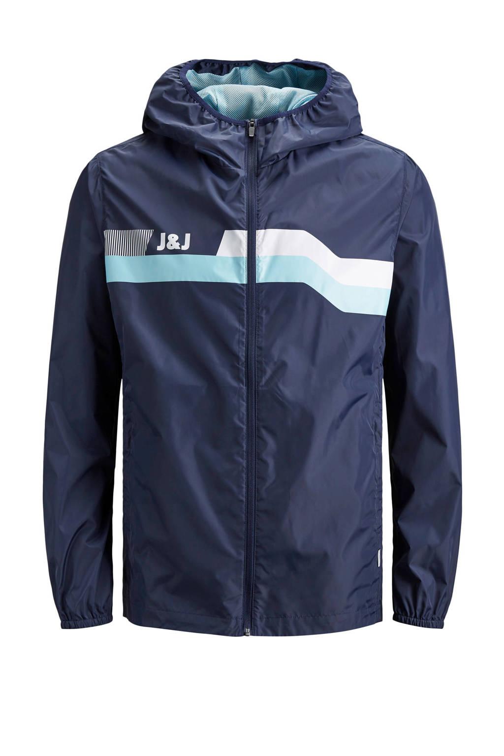 Jack & Jones Intelligence regenjas, Blauw/wit