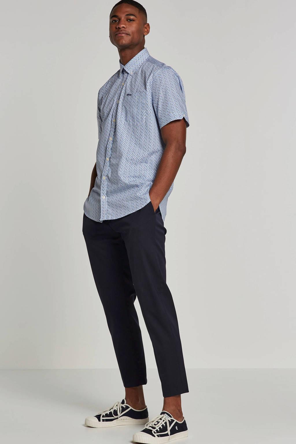 NZA overhemd korte mouw Paparoa, Wit/blauw