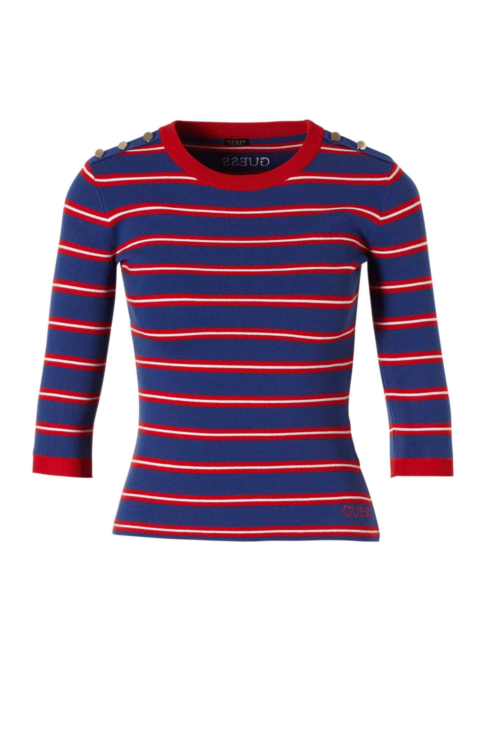 GUESS gestreept T shirt Adele blauwroodwit | wehkamp