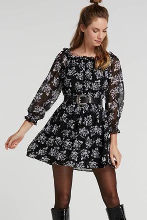 off shoulder jurk met all over print zwart/wit