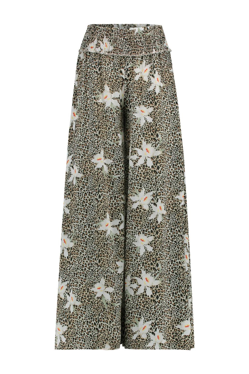 Catwalk Junkie wijde palazzo broek met panterprint, Bruin/zwart/wit/groen