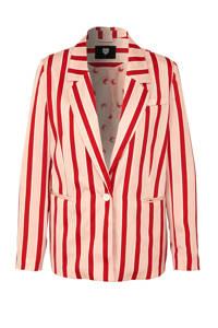 Catwalk Junkie gestreepte blazer roze, Roze/rood/wit