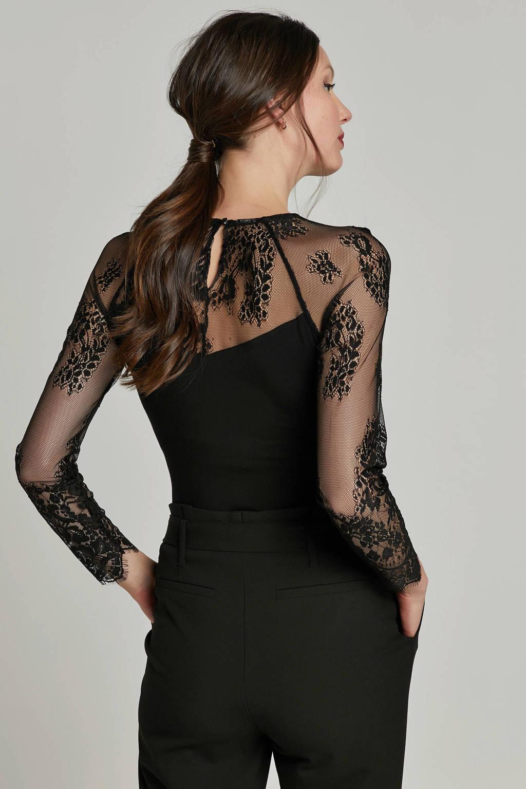 GUESS top Alina met mesh/kant zwart, Zwart