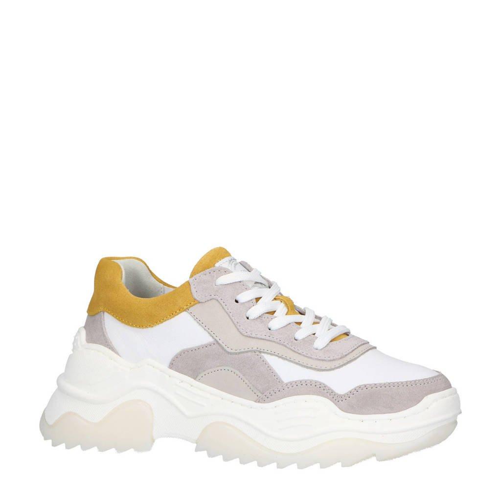 bullboxer  leren chunky sneakers wit/geel, Wit/grijs/ geel