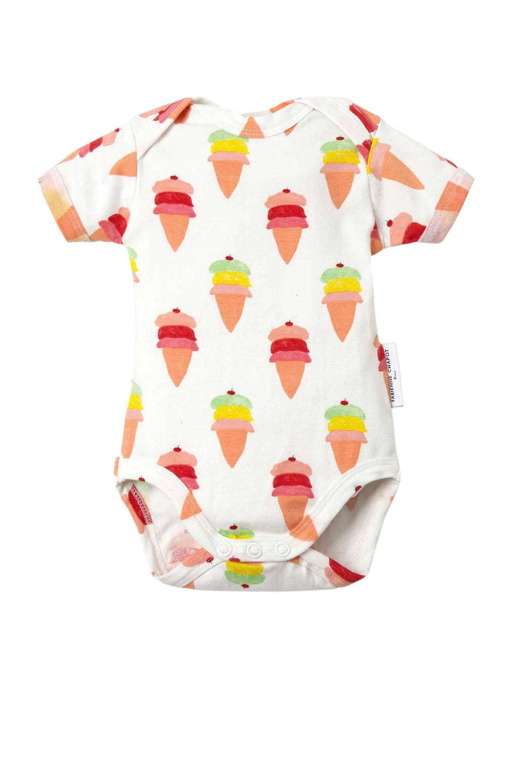 Fabienne Chapot baby romper met ijsjes wit, Wit/zalm/roze
