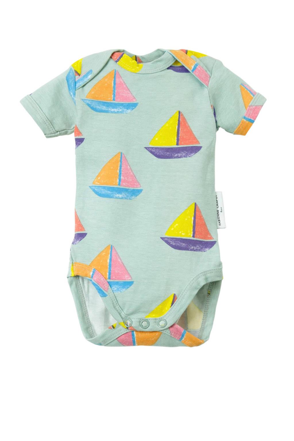 Fabienne Chapot baby romper met boten mint, Mintgroen