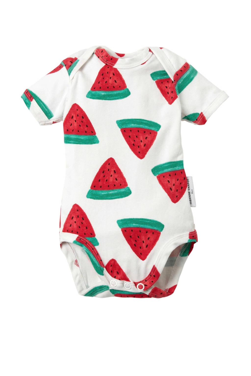 Fabienne Chapot baby romper met meloenen wit, Wit/rood/groen
